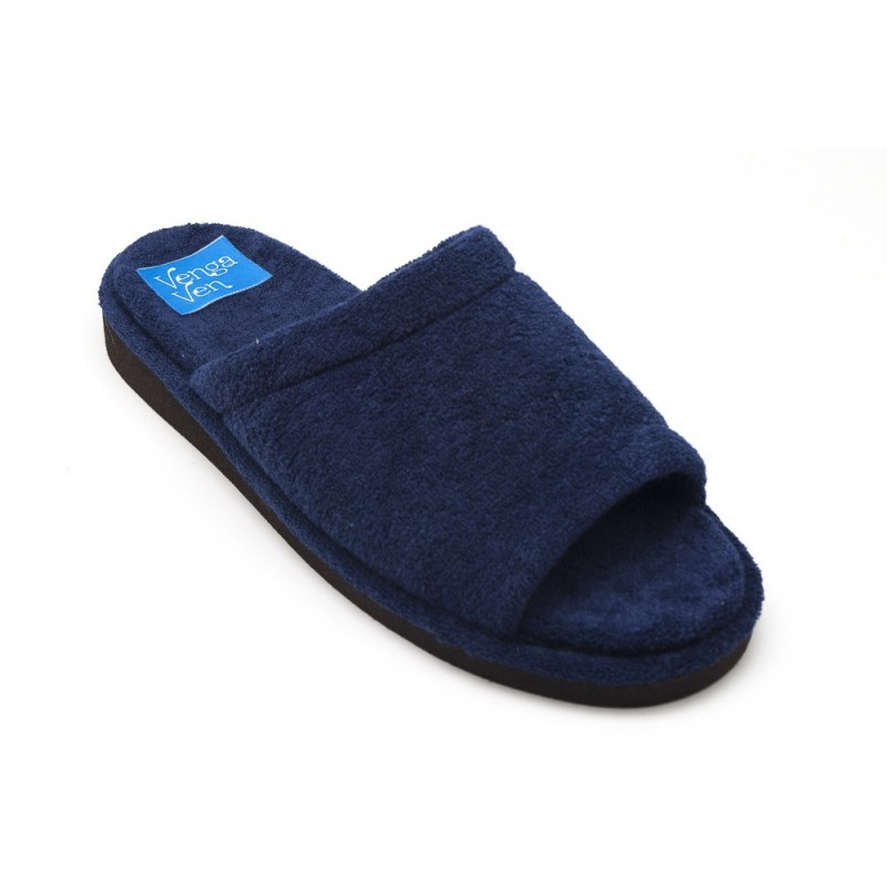 Zapatillas de casa para hombre de algodón con puntera abierta de color azul marino