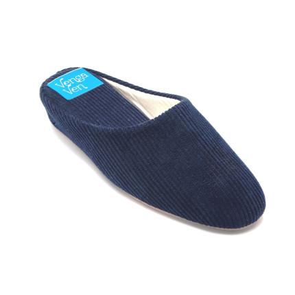 Zapatillas de casa de pana con cuña interna en azul marino