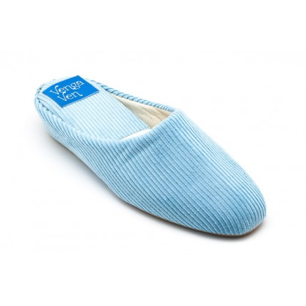 Zapatillas de casa de pana con cuña interna en azul celeste