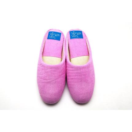 Zapatillas de casa de pana con cuña interna en rosa