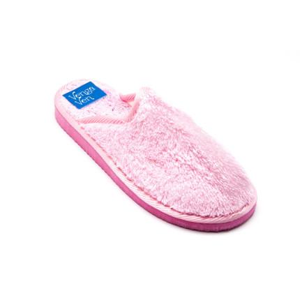 Zapatillas de algodón con la puntera cerrada de color rosa