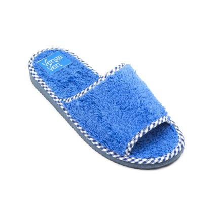 Zapatillas de algodón con puntera abierta de color azul francia
