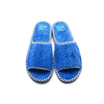 Zapatillas de algodón con puntera abierta de color azul francias