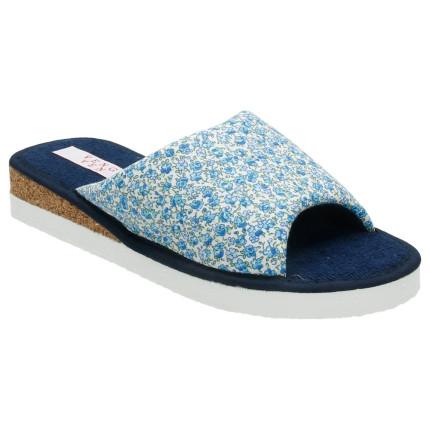 Zapatillas de casa con cuña de corcho y estampado de flores en colores azules