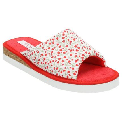 Zapatillas de casa con cuña de corcho y estampado de flores en colores rojos
