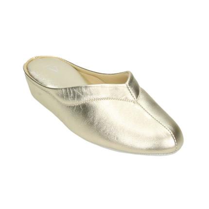 Zapatillas de casa de piel para mujer con piso silencioso fabricadas en Menorca color platino