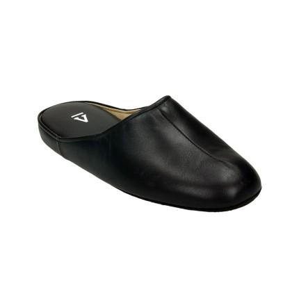Zapatillas para estar en casa hechas en piel para hombre color marrón, suela silenciosa Fabricada en Menorca