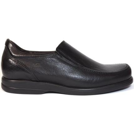 Fluchos 6275 negro - Zapatos de piel con suela antideslizante, muy anchos, plantilla extraíble