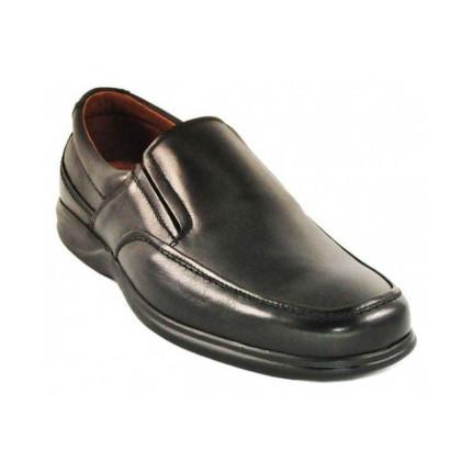 Baerchi 1931 - Zapatos sin cordones tipo mocasín negro de ancho especial y plantillas extraíbles