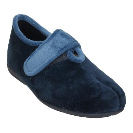 Zapatillas de casa cerradas con una tira de velcro, colores combinados en azul