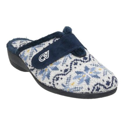 Zapatillas de casa para mujer destalonadas fabricadas en lana con una tira en el empeine