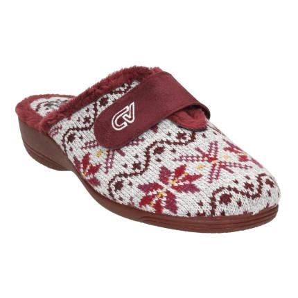 Zapatillas de casa para mujer destalonadas fabricadas en lana con una tira en el empeine en color burdeos