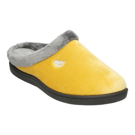 Zapatillas de casa para mujer con plantilla ultraligera pluma flex de color mostaza