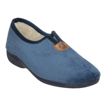 Zapatillas de estar en casa para mujer, cerradas, con un poco de cuña en azul marino