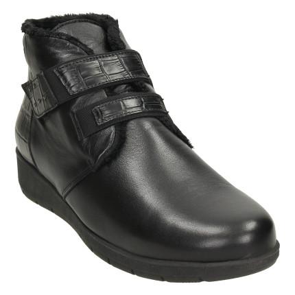 GIORDA 29491 negro - Botines de piel planos con cierre de velcro e interior forrado de pelo corto