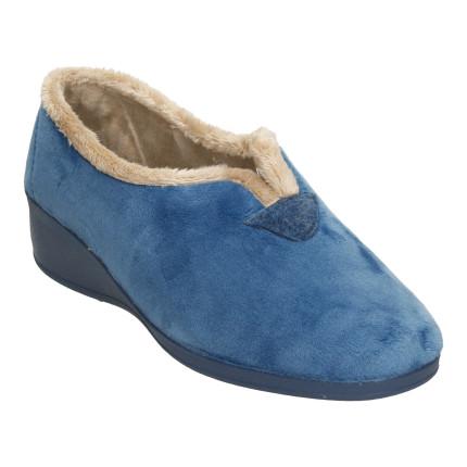 Zapatillas de casa cerradas en tejido muy suave con abertura central, color azul jeans