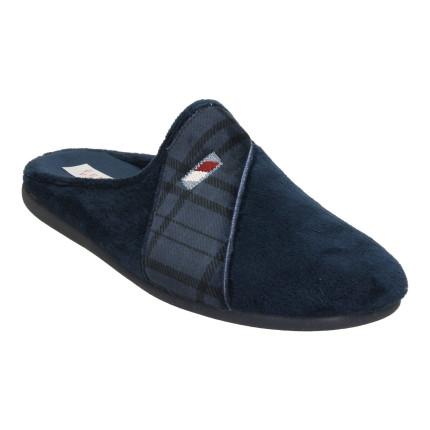Zapatillas de casa para hombre sin talón en azul marino con una banda de cuadros combinada