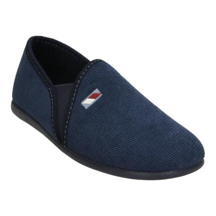 Zapatillas de casa cerradas para hombre con elástico lateral, azul marino