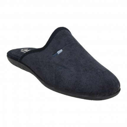 Zapatillas casa para hombre sin talón en tejido azul marino jaspeado