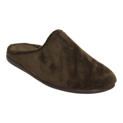 Zapatillas de casa para hombre sin talón en suave tejido marrón liso