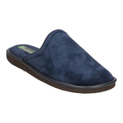Zapatillas de casa sin talón en tejido muy suave de color azul marino