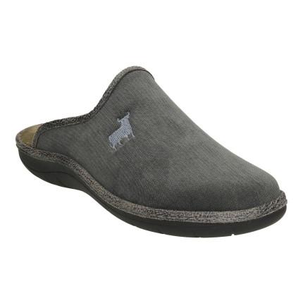 Zapatillas de casa para hombre anatómicas en gris con bordado de toro