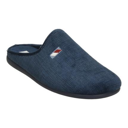 Zapatillas de estar en casa sin talón en azul marino para hombre, muy cómodas