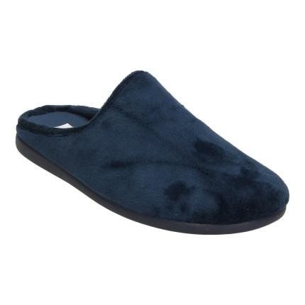 Zapatillas para casa de hombre lisas en azul marino, muy cómodas y anchas