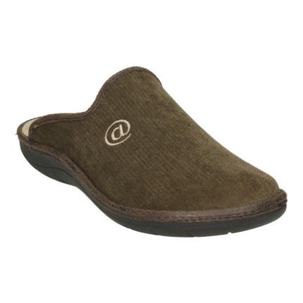 Zapatillas para casa de hombre con plantilla superacolchada y bordado de arroba en marrón