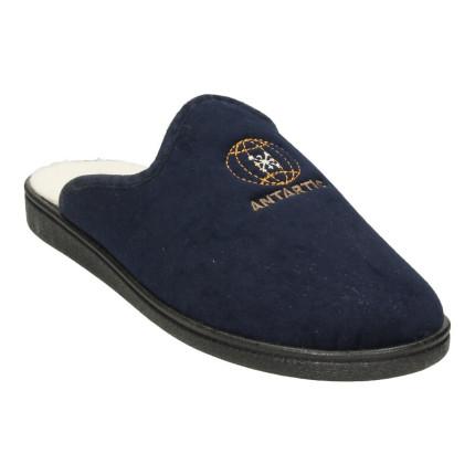 Zapatillas de casa destalonadas para hombre con forro de borreguillo y bordado, azul marino