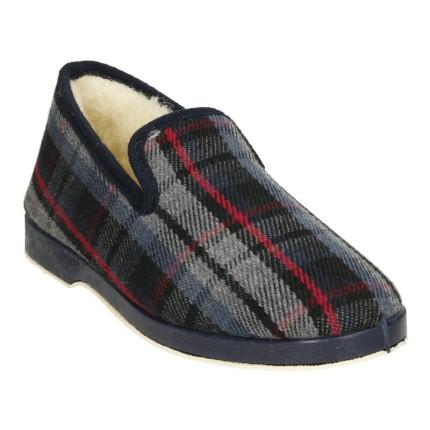 Zapatillas de casa de cuadros para hombre clásicas con forro de lana