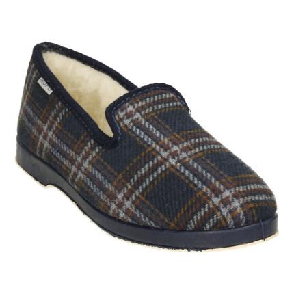 Zapatillas de casa en cuadro clásicas con forro de pura lana virgen en tonos azules