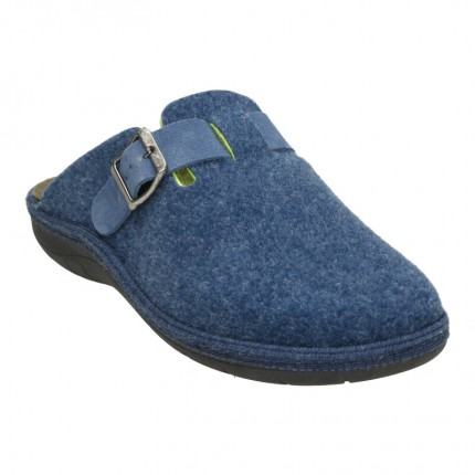 Zapatillas de casa para hombre en paño azul con hebilla en el empeine