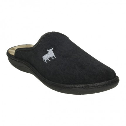 Zapatillas de casa para hombre en color negro con un toro bordado