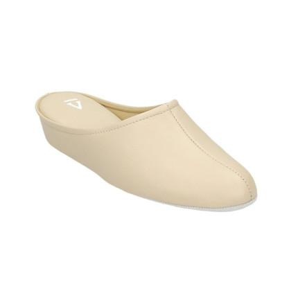 Zapatillas de casa de piel para mujer con piso silencioso fabricadas en Menorca color azul marino