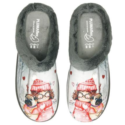 Zapatillas de casa con dibujo de una niña con gatito con plantillas plumaflex en color gris
