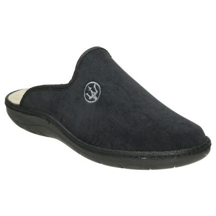 Zapatillas de casa para hombre abiertas de talón con tridente bordado en negro