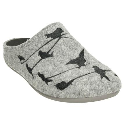 Zapatillas para casa de mujer fabricadas en fieltro gris, con pájaros bordados
