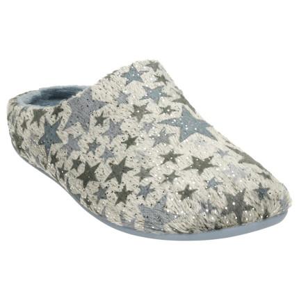 Zapatillas para casa de mujer con estrellas estampadas en tonos azules
