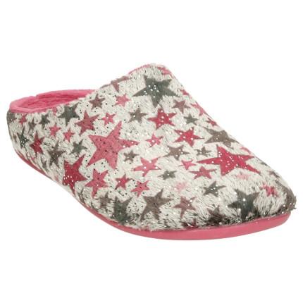 Zapatillas para casa de mujer con estrellas estampadas en tonos granates