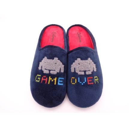 Zapatillas de casa para hombre con bordado de Game Over de marcianitos