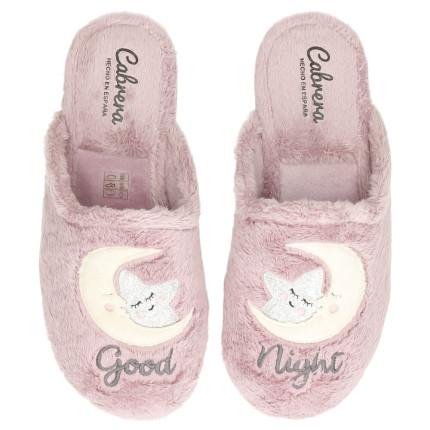 Zapatillas de casa para mujer con dibujo bordado de estrella y luna en pelito rosa