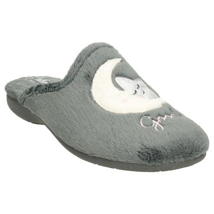 Zapatillas de casa para mujer con dibujo bordado de estrella y luna en pelito gris