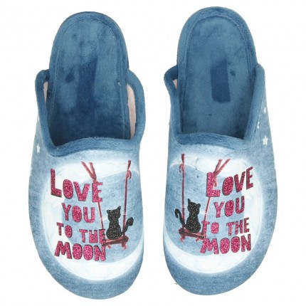 "Zapatillas de casa para mujer con dibujo de gato y luna ""Love you to the moon"""