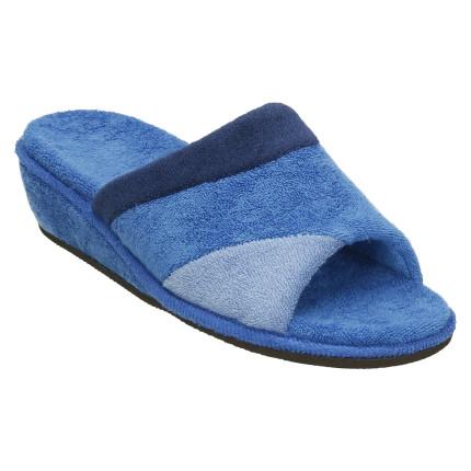 Zapatillas de casa de verano de toalla en tres colores azules combinados, muy ligera