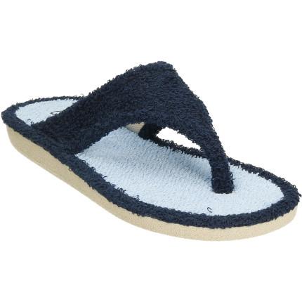 Zapatillas de casa de dedo en color azul, material: toalla