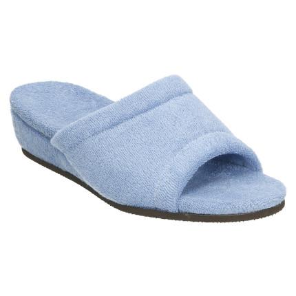 Zapatillas anatómicas de casa de algódon de toalla en color azul aguamar con cuña forrada al tono