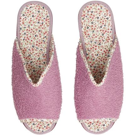 Zapatillas de casa de mujer con cuña de goma y toalla en lila, forro de florecitas