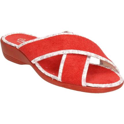 Zapatillas de casa para mujer en tiras cruzadas en toalla rojo con cuña de goma