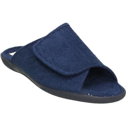 Zapatillas para estar en casa de hombre en toalla con un velcro regulable en azul marino